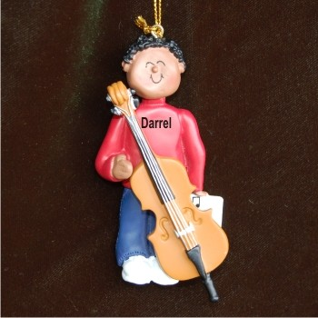 Cello Virtuoso, African American Male Personalized Christmas Ornament