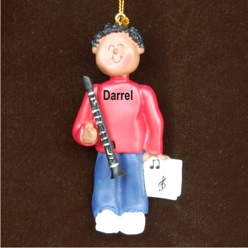 Clarinet Virtuoso, African American Male Personalized Christmas Ornament