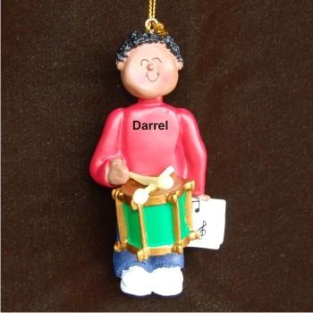 Drums Virtuoso, African American Male Christmas Ornament