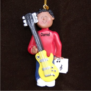 Guitar Electric Virtuoso, African American Male Personalized Christmas Ornament