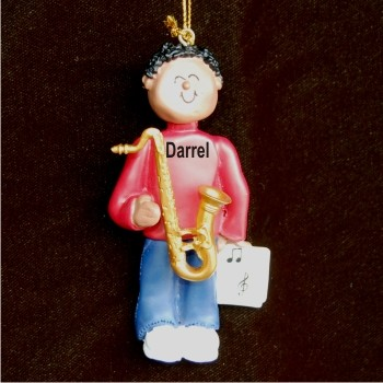 Saxophone Virtuoso, African American Male Personalized Christmas Ornament