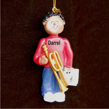 Trombone Virtuoso, African American Male Christmas Ornament