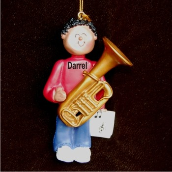 Tuba Virtuoso, African American Male Personalized Christmas Ornament