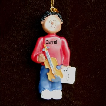 Violin Virtuoso, African American Male Personalized Christmas Ornament