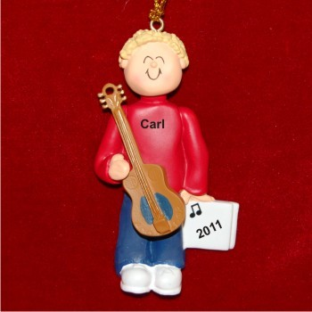 Acoustic Guitar Virtuoso, Male Blonde Personalized Christmas Ornament
