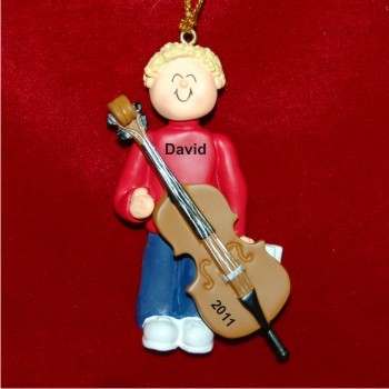 Cello Virtuoso, Male Blonde Hair Personalized Christmas Ornament