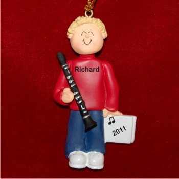 Clarinet Virtuoso, Male Blonde Hair Personalized Christmas Ornament