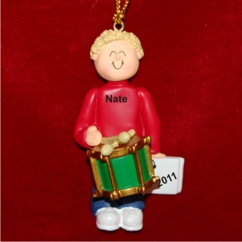 Drums Virtuoso, Male Blonde Hair Christmas Ornament Personalized by Russell Rhodes