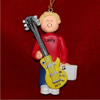 Guitar Electric Virtuoso, Male Blonde Hair Personalized Christmas Ornament