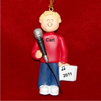 Star Singer Male Blonde Hair Christmas Ornament Personalized by Russell Rhodes