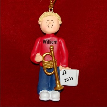 Trumpet Virtuoso, Male Blonde Hair Christmas Ornament