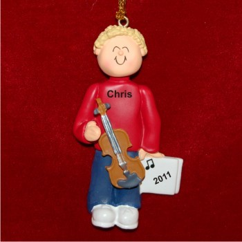 Violin Virtuoso, Male Blonde Hair Christmas Ornament Personalized by Russell Rhodes