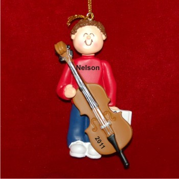 Cello Virtuoso, Male Brown Hair Christmas Ornament Personalized by Russell Rhodes