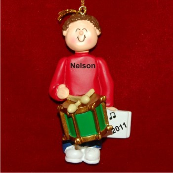 Drums Virtuoso, Male Brown Hair Christmas Ornament