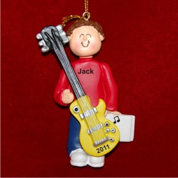 Guitar Virtuoso, Male Brown Hair Personalized Christmas Ornament