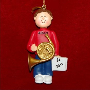 French Horn Virtuoso, Male Brown Hair Christmas Ornament