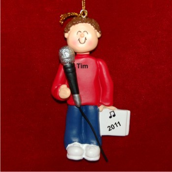 Star Singer Male Brown Hair Personalized Christmas Ornament