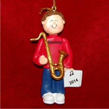 Saxophone Virtuoso, Male Brown Hair Personalized Christmas Ornament