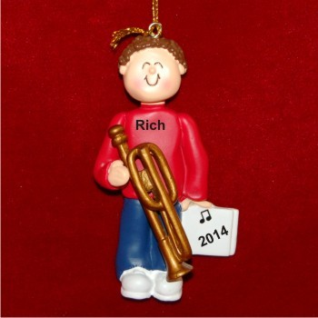 Trombone Virtuoso, Male Brown Hair Christmas Ornament