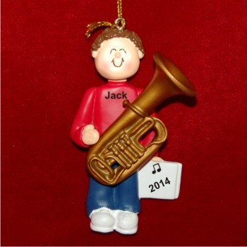 Tuba Virtuoso, Male Brown Hair Christmas Ornament Personalized by Russell Rhodes