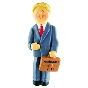 Businessman Blonde Hair Christmas Ornament Personalized by Russell Rhodes