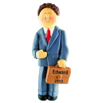 businessman brown hair hand personalized christmas ornaments by