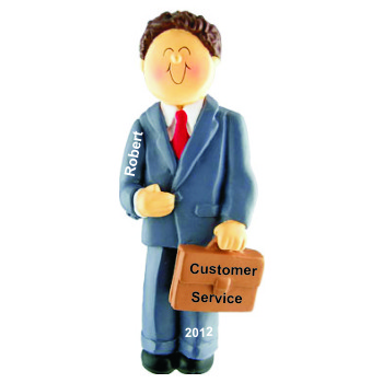 First Job Male Brunette Christmas Ornament Personalized by Russell Rhodes