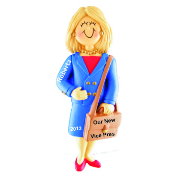 Job Promotion Gift Female Blond Personalized Christmas Ornament