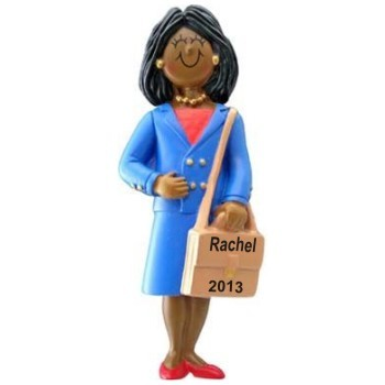 African American Businesswoman Christmas Ornament Personalized by Russell Rhodes
