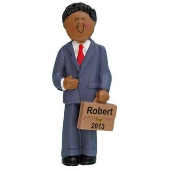 African American Male Businessman Personalized Christmas Ornament