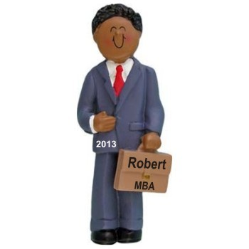 African American Male Professional Graduation Christmas Ornament