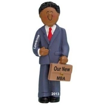 African American Male MBA Business School Graduation Christmas Ornament Personalized by Russell Rhodes