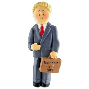 Professional Graduation Male Blonde Hair Christmas Ornament Personalized by Russell Rhodes