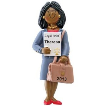 African American Female Lawyer Personalized Christmas Ornament