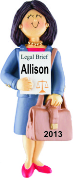 Lawyer Female Brown Hair Personalized Christmas Ornament