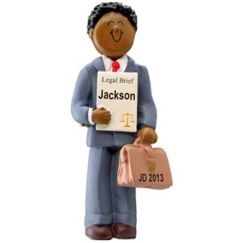 African American Male Law School Graduation Christmas Ornament