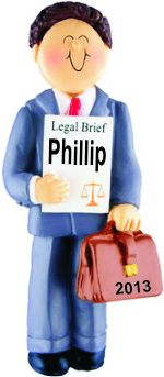 Lawyer Male Brown Hair Personalized Christmas Ornament