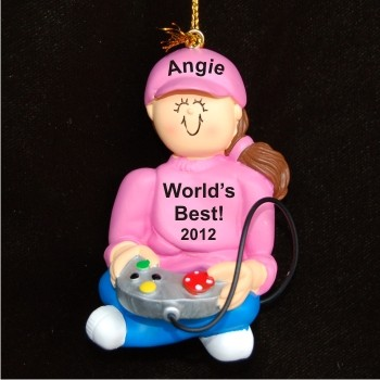 Female Brunette Video Game Player Christmas Ornament Personalized by Russell Rhodes