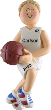 Basketball Champ Male Blonde Hair Personalized Christmas Ornament