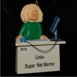 Computer Female Blonde Hair Christmas Ornament