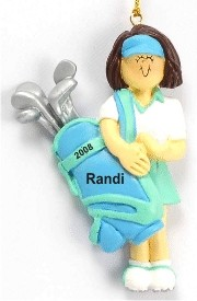 Golf Female Brown Hair Personalized Christmas Ornament