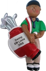 Golf Male African American Christmas Ornament Personalized by Russell Rhodes