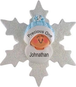 Baby at Christmastime Blue Snowflake Christmas Ornament