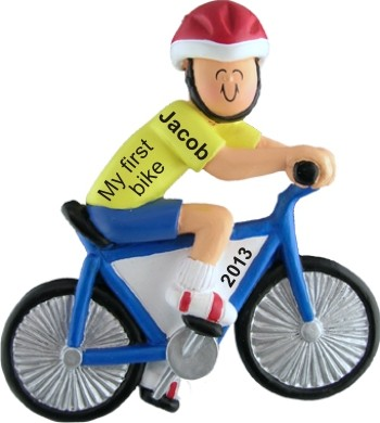 My First Bike Male Personalized Christmas Ornament