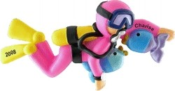 Scuba Female Personalized Christmas Ornament