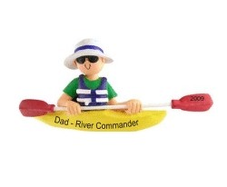 Kayak Male Personalized Christmas Ornament