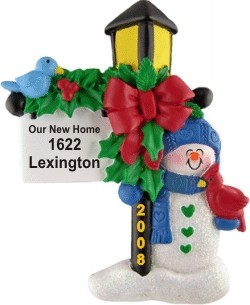 Our New Home Welcome Light Christmas Ornament Personalized by Russell Rhodes