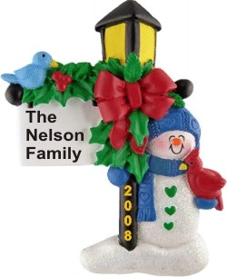 Family Winter Lamp Light Personalized Christmas Ornament