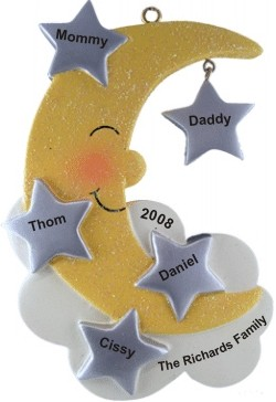 Moon & Stars Family of 5 Personalized Christmas Ornament