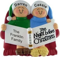 Night Before Christmas Family of 2 Personalized Christmas Ornament